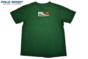 Y-2371★送料無料★RLX POLO SPORT RALPH LAUREN ポロスポーツ ラルフローレン★アメリカ USA製 グリーン緑色 ロゴ 半袖 T-シャツ XL
