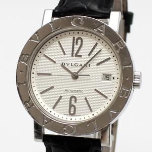 【中古】ブルガリ ブルガリブルガリ 時計 自動巻き SS レザー ホワイト文字盤 BB38SL