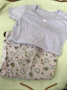 小学生女の子におススメデザイン パープル系インナーシャツ&ハートがいっぱいステテコ ECO タンス整理品