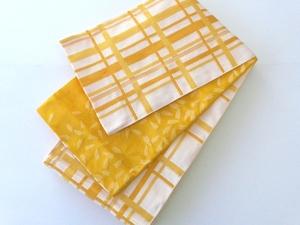 洗える 浴衣帯 半幅帯 リバーシブル 訳あり処分価格 黄色 チェック 花びら 336