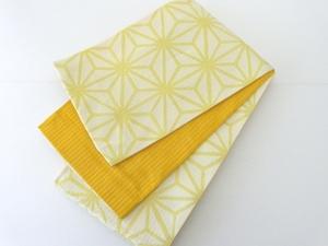 洗える 浴衣帯 半幅帯 リバーシブル 訳あり処分価格 薄黄色 オレンジ 麻の葉 328