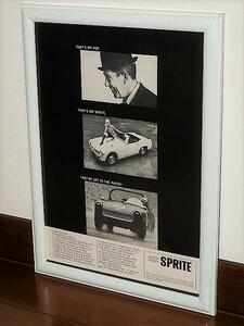 1965年 USA Vintage 洋書雑誌広告 額装品 Austin Healey Sprite オースチン ヒーレー スプライト / 検索用 MG Midget ミジェット (A4size)