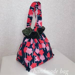 ハンドメイド巾着バッグ 巾着袋 花柄 巾着トート トートバッグ 三角マチ