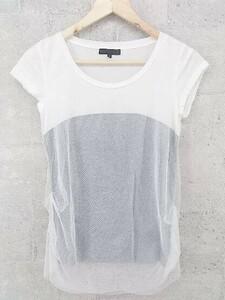 ◇ iCB アイシービー 半袖 Tシャツ カットソー S オフホワイト グレー * 1002797863942