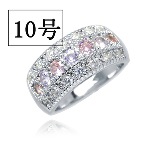 憧れの最上級 絢爛 10号 CZピンク&アメジストダイヤモンドリング プラチナ仕上 限定 厳選 極上の逸品 必見 オススメ 新品 レディース