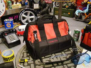 【59014】入手困難!バッグの下部パーツケース付☆スナップオン パーツケース付きツールバッグ/アメリカ雑貨/工具箱/DIY/工具入れ