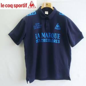 ◆le coq sportif*ポロシャツ*半袖*Oサイズ*メンズ*la marque des tricolores*ネイビー*ルコックスポルティフ #4293