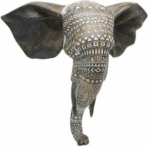 アフリカゾウの胸像 壁彫刻 高さ 約28cm 彫刻が施された高貴な象 ハンギング壁装飾アート木製風仕上げ 新築祝い(輸入品