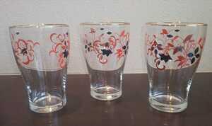 昔使用品 昭和レトロ グラス 3つ コップ ガラス 花柄 植物 ヴィンテージ デザイン インテリア かわいい
