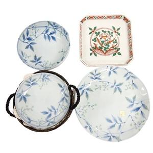 【保管品】お皿 8枚セット 竹下夢二 たち吉 丸皿 小皿 ボウル 皿 プレート 絵皿 柄 植物 陶器 陶磁器 和食器 ブランド 食器 ブルー