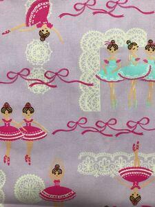 バレリーナ柄 オックス生地 薄紫    ルシアン  110×50センチ 国産