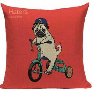 新品未使用 送料無料 パグ 自転車 クッションカバー 雑貨 インテリア おしゃれ かわいい レッド 赤 小型犬 グッズ