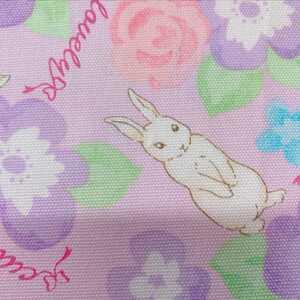 新品 タテ50×ヨコ110 ハンドメイド 生地 北欧 おしゃれ ウサギ柄 紫.