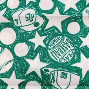 新品 50×110 ハンドメイド 生地 ベースボール柄 エコバッグ グリーン.