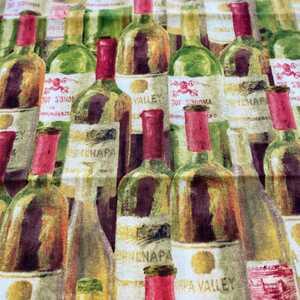 新品 タテ50×ヨコ108 ハンドメイド 生地 北欧 ワイン ボトル柄.