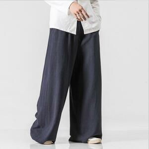 麻パンツ メンズ サルエル メンズ ワイドパンツ サルエルパンツ 涼しいズボン 麻パンツ リネンパンツ イージー M~5XL ネイビー