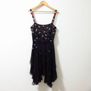 美品 EMPORIO ARMANI エンポリオアルマーニ ビーズ 装飾 膝丈 ティアード シルク100% キャミソールワンピース ドレス ブラック 黒 40 072