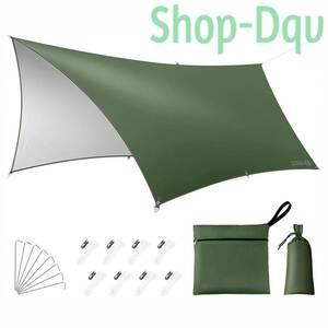 【3×5m】高品質 300Dポリエステル タープ 99.9%UVカット 耐水圧3000mm 防水 キャンプ ツーリング テント アーミーグリーン