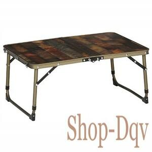 木目風 アウトドア テーブル 2つ折り 60cm ヴィンテージ ライン 折りたたみ式 キッチン ソロ キャンプ
