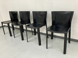 iwb180 Fasem ファセム レザーチェア ダイニングチェア レザー 革 椅子 4脚 イタリア製 ヴィンテージ 中古 ※引取限定