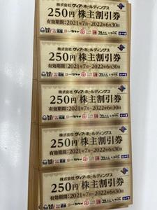 送込◆●ヴィアホールディング 株主割引券5000円分(250円20枚) 有効期限2021年7月~2022年6月末