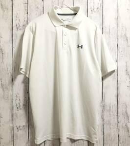 【UNDER ARMOUR】アンダーアーマー トレーニングシャツ ポロシャツ 半袖 メンズ XL ホワイトゴルフにも! 送料無料!
