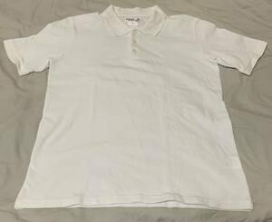 agnis b. homme PARIS! アニエスベー! 半袖ポロシャツ! ロゴ・刺繍! 白! 2! 日本製!