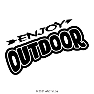 ゆうパケット送料無料 ENJOY OUTDOOR カッティングステッカー JDM USDM HDM SUV 4WD 北米 クロカン アウトドア キャンプ ワンポイント