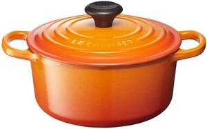 クールカラー鋳鉄ポットエナメルポットシグネチャーエナメルポットラウンドポット18cmオレンジガスレンジIHオーブンに適しています