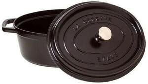 鋳鉄のシチューの楕円形の黒23 cm 2つのハンドル鋳鉄エナメルポット