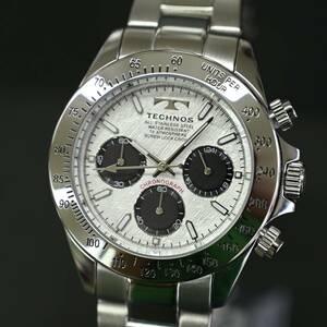送料無料★特価 新品 TECHNOS正規保証付き★テクノス 限定品 シルバー T4684SS メンズ腕時計 クロノグラフ 10気圧防水★プレゼントに