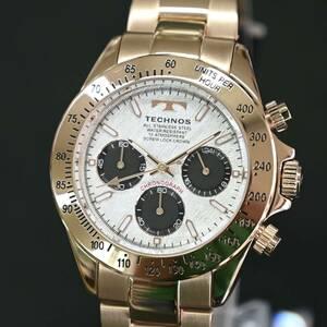 送料無料★特価 新品 TECHNOS正規保証付★テクノス 限定品 ローズゴールド T4684PS メンズ腕時計 クロノグラフ 10気圧防水★プレゼントに