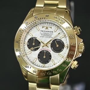 送料無料★特価 新品 TECHNOS正規保証付き★テクノス 限定品 金色 ゴールド T4684GS メンズ腕時計 クロノグラフ 10気圧防水★プレゼントに