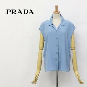 国内正規品◆PRADA/プラダ シルク ストレッチ フレンチスリーブ シャツ ブラウス 水色 40