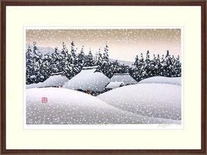 ◆ 宮本秋風 『 里の雪 』 木版画