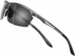 【送料無料】Glazata 偏光スポーツサングラス 偏光グラス 昼夜兼用・超軽量メタル UV400 紫外線カット ドライブ 野球 男女兼用 グレー