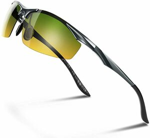 【送料無料】Glazata 偏光スポーツサングラス 変色調光偏光グラス 昼夜兼用・超軽量メタル UV400 紫外線カット イエロー 黄 グリーン 緑
