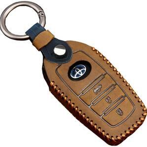 【送料無料】トヨタ キーケース キーカバー キーホルダー C-HR プリウス カローラ RAV4 ランドクルーザー プラド 3ボタン 茶色 ブラウン