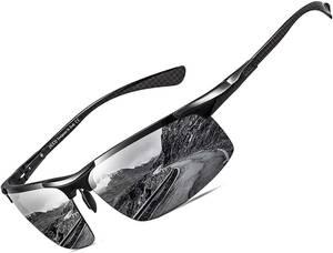 【送料無料】DUCO スポーツサングラス メンズ 大きいサイズ 偏光 大きな顔に向け UV400保護 高級炭素繊維素材 超軽量 8277 黒 ブラック