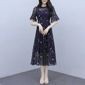 ワンピース 韓国 夏 レディース 結婚式 ロングワンピース ドレス XL ロングワンピース レディースワンピース 着痩せ 花柄