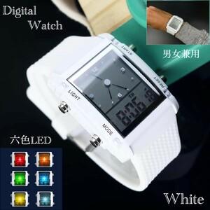 スポーツ腕時計 腕時計 時計 アナデジ式 LED デジタル ミリタリー 自転車 スポーツ アウトドア キャンプ ランニング ホワイト 21