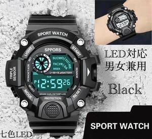 スポーツ腕時計 腕時計 時計 デジタル式 LED デジタル腕時計 デジタル 自転車 スポーツ アウトドア キャンプ ブラック  21