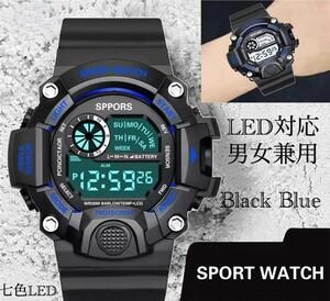 スポーツ腕時計 腕時計 時計 デジタル式 LED デジタル腕時計 デジタル 自転車 スポーツ アウトドア キャンプ ブラック ブルー 21