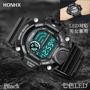 スポーツ腕時計 腕時計 時計 デジタル式 LED デジタル腕時計 デジタル 自転車 スポーツ アウトドア キャンプ ブラック  22