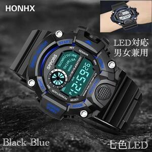 スポーツ腕時計 腕時計 時計 デジタル式 LED デジタル腕時計 デジタル 自転車 スポーツ アウトドア キャンプ ブラック ブルー 22