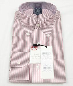 ●定番J.PRESS長袖ボタンダウンシャツ(L(40-85),エンジ白縦縞,YW1041,プレミアムプリーツ(形態安定),日本製)新品