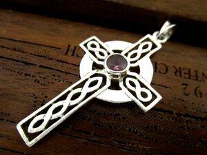 英国 ビンテージ スターリングシルバー925 ペンダント ケルト クロス アメジスト Celtic 十字架 純銀3.4g OME社製/刻印