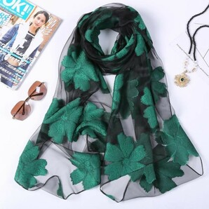 ストール レディース 緑 黒 花柄 大判 プレゼント スカーフ ショール5