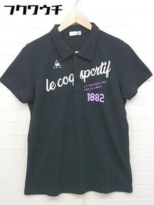 ◇ le coq sportif ルコックスポルティフ ロゴ プリント 半袖 ポロシャツ サイズL ブラック ホワイト メンズ