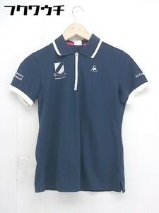 ◇ le coq sportif ルコックスポルティフ ハーフジップ 半袖 ポロシャツ サイズL ネイビー レディース